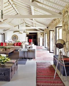 Contemporary Romantic Country Style Home Design Living Room