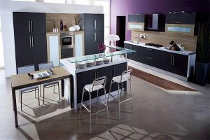 Contemporary Violet Kitchen Decorating Inspiration match with black decor
