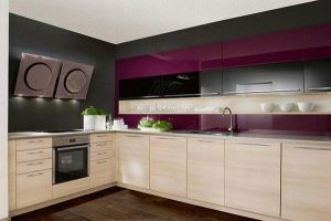 Contemporary Violet Kitchen Decorating Inspiration with wooden kitchen set