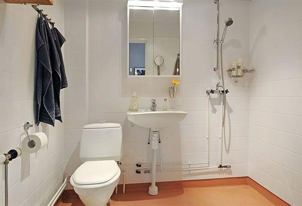 Cool and Cozy White Swedish Apartments Ideas bathroom