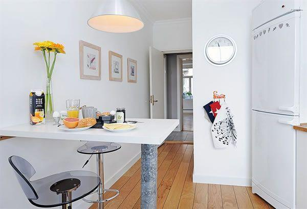 Cool and Cozy White Swedish Apartments Ideas dining room
