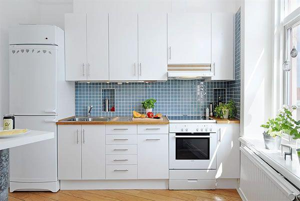 Cool and Cozy White Swedish Apartments Ideas kitchen set