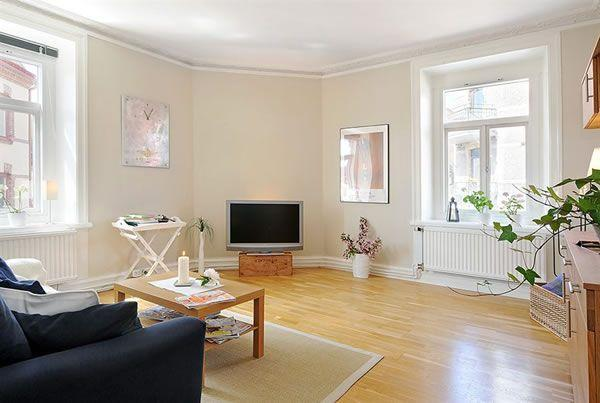 Cool and Cozy White Swedish Apartments Ideas livingroom