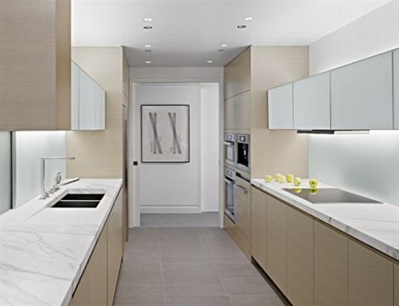 Modern kitchen of stylish warm apartment desgin