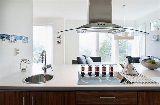 Swedish Style House Design with Black Wooden Exterior Kitchen Design