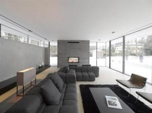 Two Story House Design With Rough Stone Facade Interior view