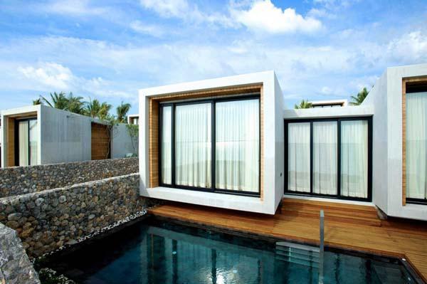 tropical Beachfront Villa Design with green Concept in Thailand