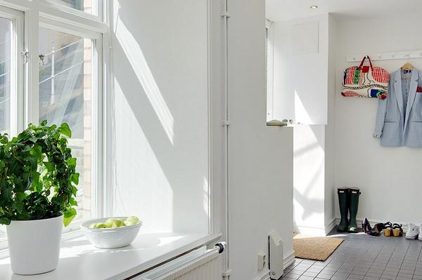 Bright Apartment Design with wide White Stylish window