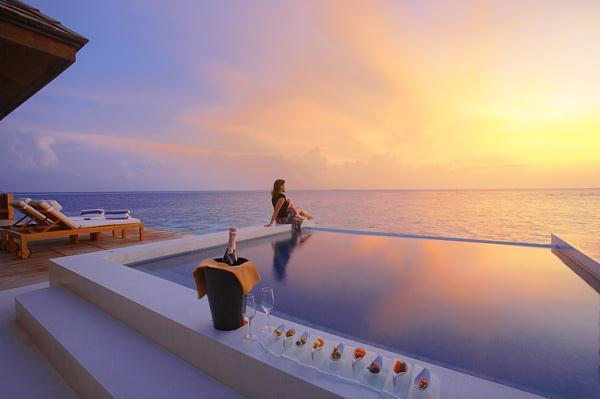 Cozy Lily Resort in Maldives with sunset view