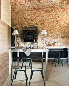 Creative Home with Rustic Design Interior in Ampurdan dinningroom
