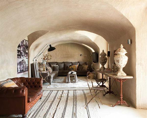 Creative Home with Rustic Design Interior in Ampurdan livingroom