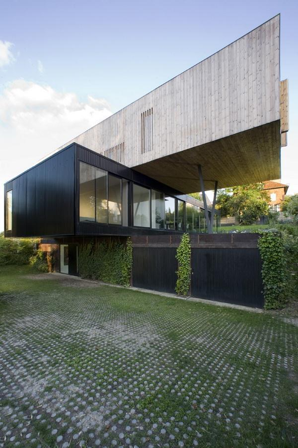 Creative and Beautiful Home Design Inspiration for uneven ground with garage at below