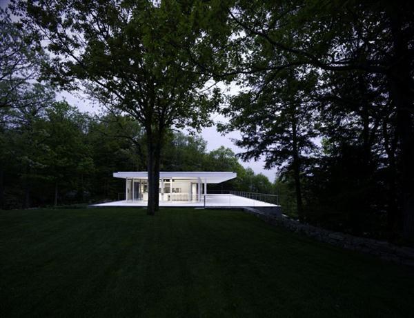 Delightful White Villa Design at night