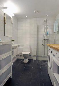 Minimalist white bathroom Design Ideas in Sweden