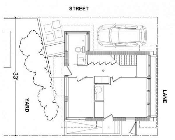 The Mendoza Lane House ground floor siteplan