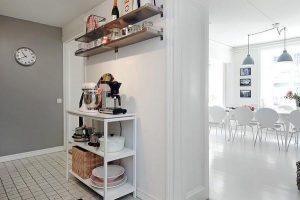 White kitchen decor on stylish duplex apartment by Alvhem