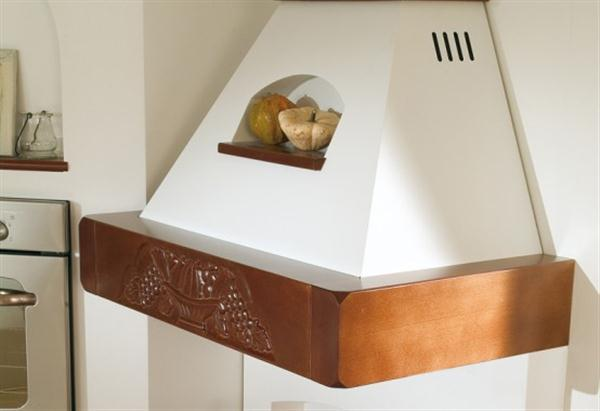 Beautiful Wide Italian Range Hoods Design with fruit carving