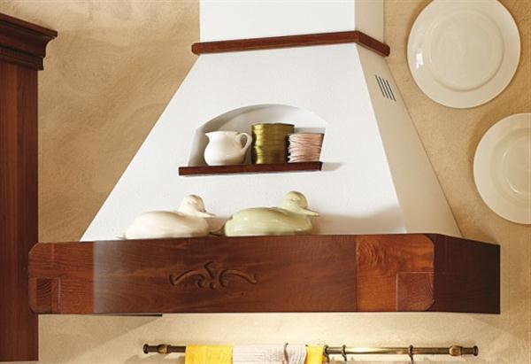 Beautiful Wide Italian Range Hoods Design with minimalist shelves