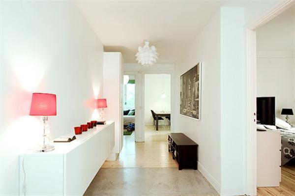 Beautiful corridor Sweden Apartment Design with sweet desk lamp