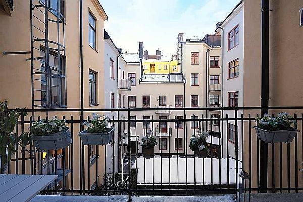 Elegance Apartment Design in Stockholm terrace view
