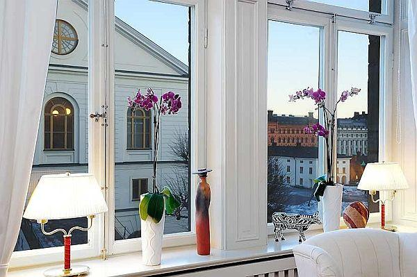 Elegance Apartment Design in Stockholm with wonderful city view from the window