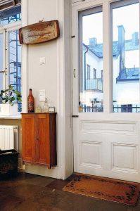 Elegance Apartment Design with unique front door design and urban view