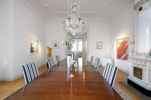 Elegance dinning table Decor with luxurious pendant lamp and gorgeous lines chair
