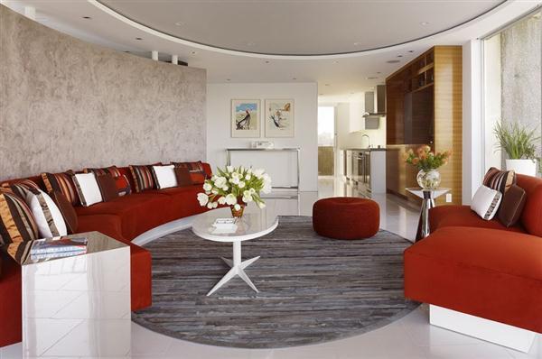 Elegant Semi circular Living room Design Ideas