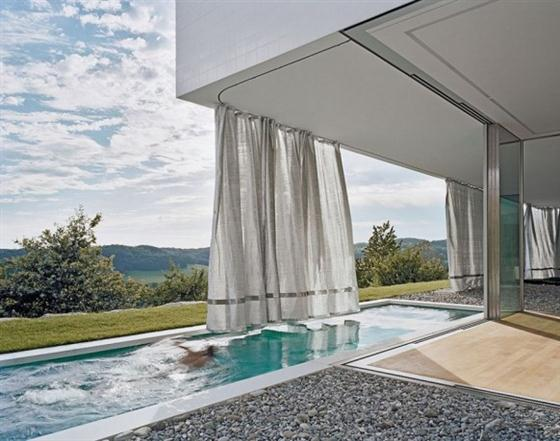 Elegant and Modern White Germany House Design Small Lap pool