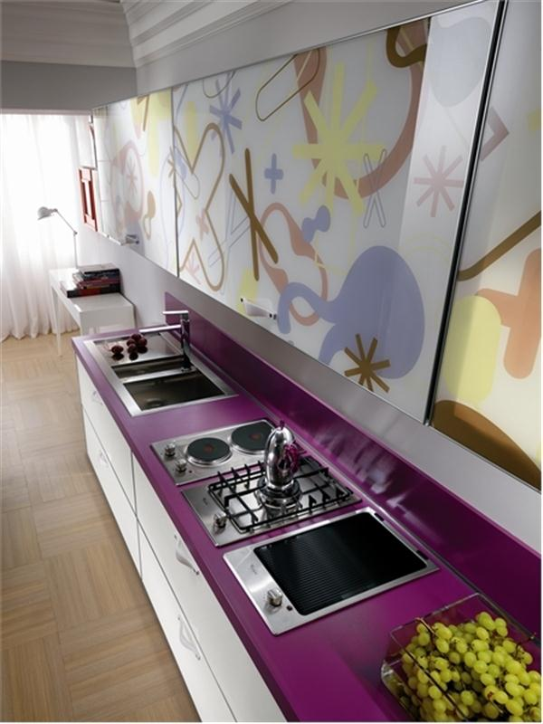 Eye catching and Cute violet Kitchen Design Ideas by Scavolini