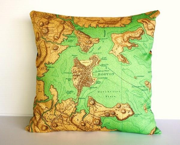 Funny and Delightful Boston Map Pillows by Bearded Pigeon
