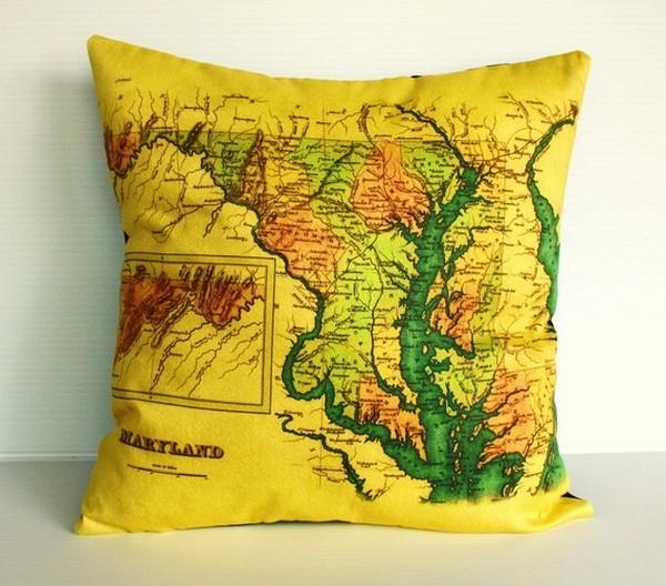 Funny and Delightful yellow Map Pillows by Bearded Pigeon