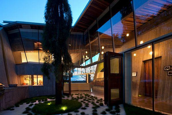 Futuristic Home Design with Many Amazing Pendant Lamps at night view
