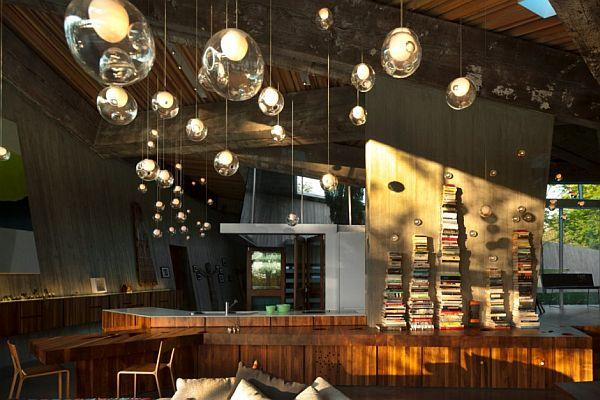 Futuristic Home with Many Amazing Pendant Lamps inside home