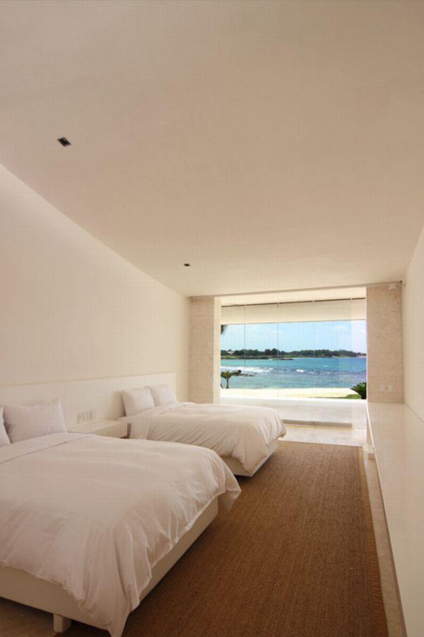 Futuristic White Beach Home in Dominican Republic bedroom