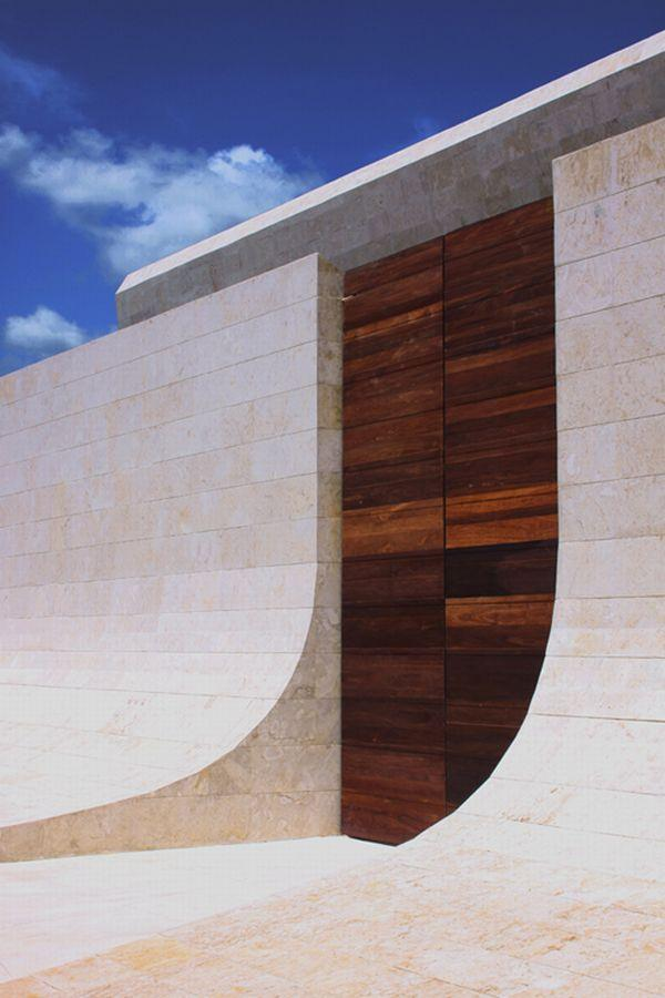 Futuristic White Beach Home in Dominican Republic front door design