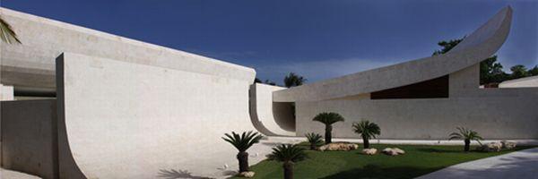 Futuristic White Beach Home in Dominican Republic garden