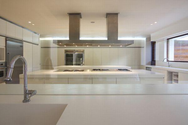 Futuristic White Beach Home in Dominican Republic kitchen design