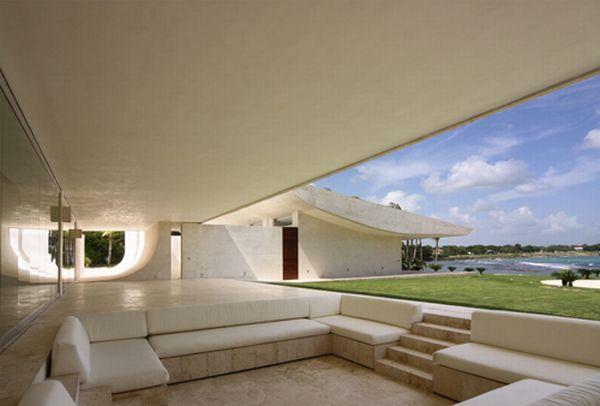 Futuristic White Beach Home in Dominican Republic terrace