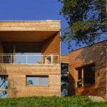 Futuristic Wooden Home Design Ideas from Vienna at daylight