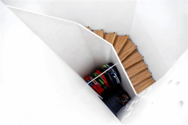 Futuristic Wooden Home Design Ideas with unique stairs