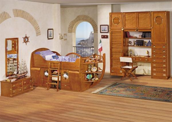 Sea Themes Kids Bedrooms by Caroti with wooden materials