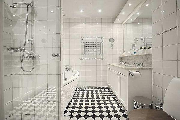 all white bathroom Design on wonderful residence at Stockholm