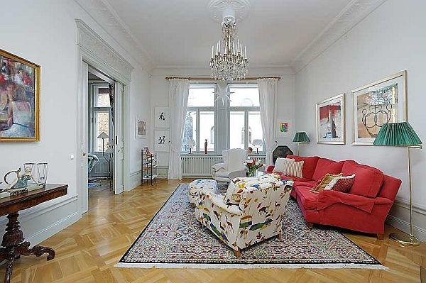 beautiful Apartment interior Design with Classical Swedish Style in Sweden