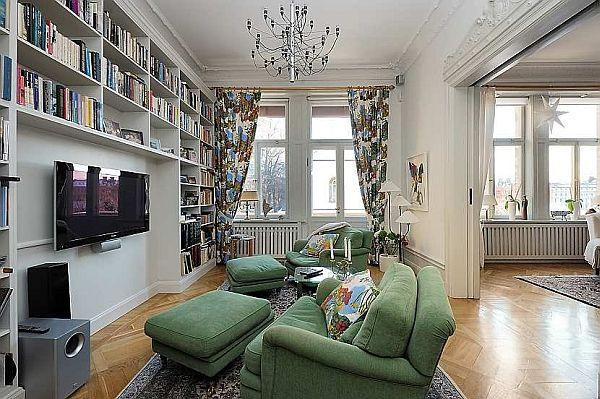 cozy reading corner design on home with Classical Swedish Style