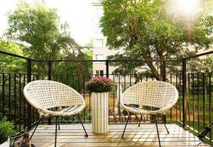 cozy terrace Apartment Design with Light Wooden Floor