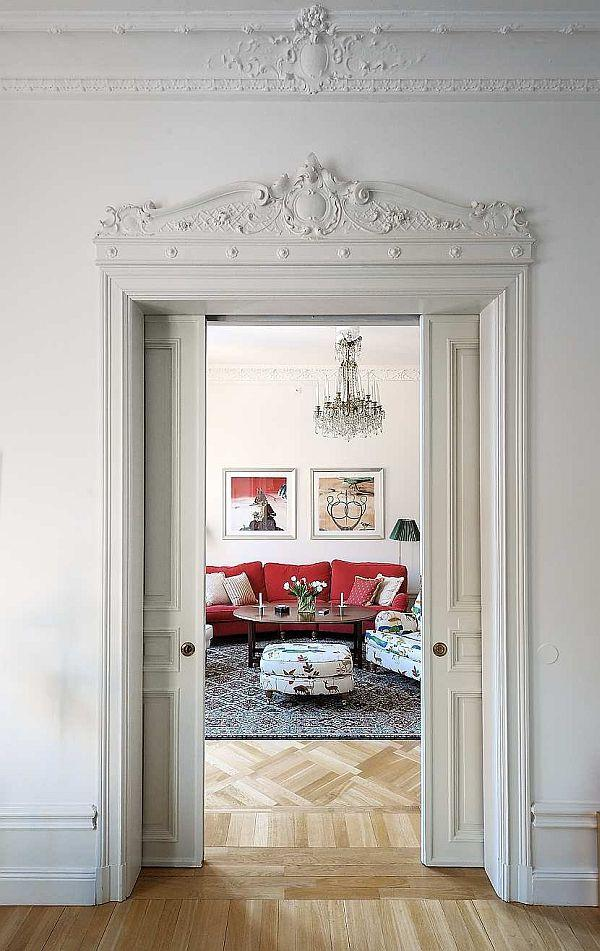 delightful living room Design with Classical Swedish Style in Stockholm