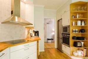 kitchen Apartment Design with wooden materials appliance