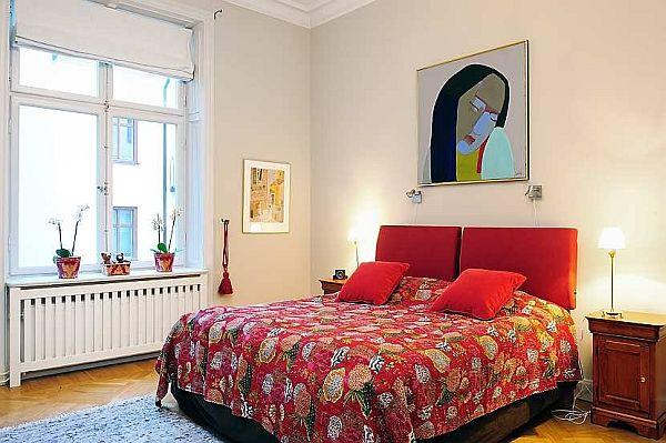 simpy red bedding ideas on Elegance Apartment Design in Stockholm