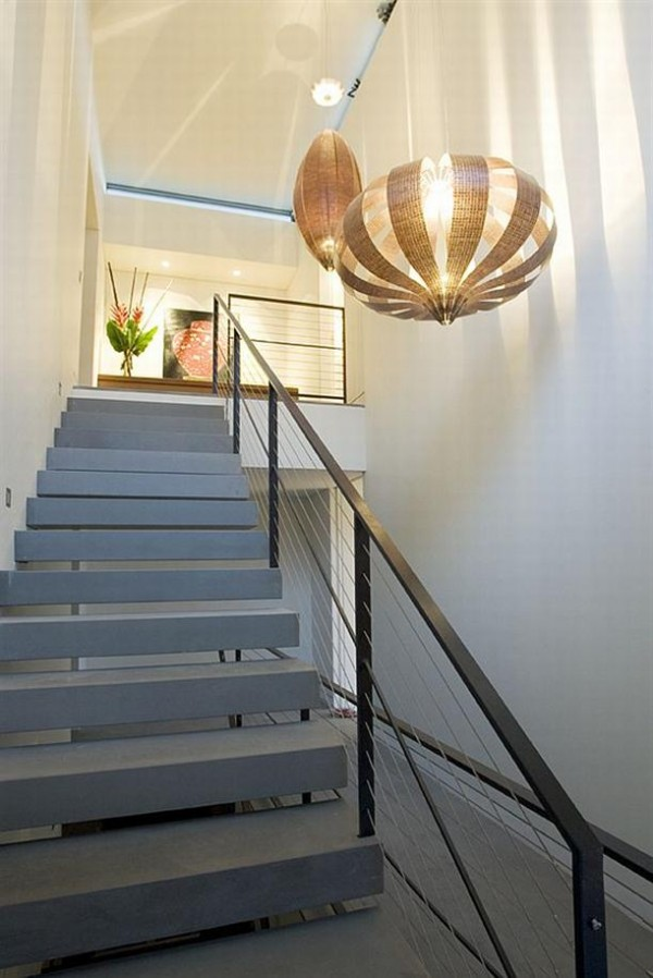 the Mosman House by Corben Architects with elegant stairs and pendant lamp